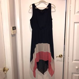 Navy, pink and white sleeveless high-low dress